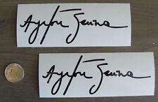 2x stickers Auto Signature Ayrton Senna Noir Brillant 14cm B12-070