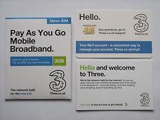 Three 3GB Data Preloaded 3G/4G Pay As You Go Nano-SIM for iPad Mini & iPad Air