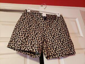 NEW Banana Republic Women's Tailored Pique Shorts, Leopard Print, Size 0