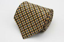STEFANO RICCI Tie. Yellow w Black & Blue Basket Weave Pattern. Made in Italy