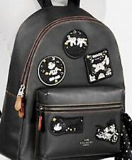New Disney X Coach Charlie Leather Backpack with Mickey Mouse Patches F59375