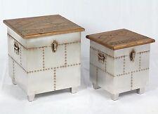 2er Set Vintage Hocker Industrie Design Kiste Loft Retro Truhe Used Möbel  509