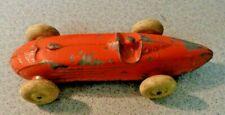 Very Old Vintage Metal Toy RACE CAR w/ Driver Orange Original Paint