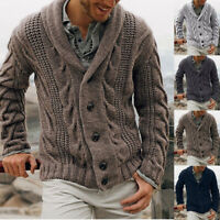 Mens Chunky Collar Cardigan Sweater Buttons Knitted Jumper Coat Jacket Warm Top