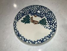 "Folk Craft Cabin Snow Stove Top Burner Covers Folk Art 8"" Tienshan"
