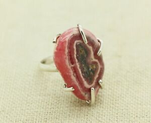 Sterling Silver Pink Geode Ring Size 6.5
