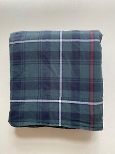 RALPH LAUREN HOME Millbrook Navy Green Plaid Flat Bed Sheet ~ QUEEN