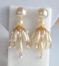 Statement Chandelier Cha-Cha Pierced Earrings Vintage 70's Faux Pearl Plastic