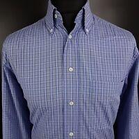 HUGO BOSS Mens Vintage Formal Shirt 40 15 3/4 LARGE Long Sleeve Blue Check