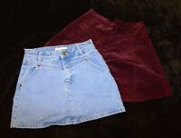 Brandy Melville Forever 21 denim pink red hole A-line skirt S SMALL Women's