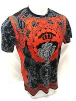 Mens PRESTIGIOUS SHORT Sleeve Shirt BLACK RED MEDUSA HEAD SILKY DIAMOND 109 NEW