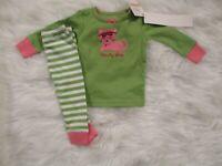 Gymboree Baby Girls Pink 2 Piece Green Kitten Print Pajamas Size 6-12 months NWT