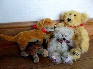 TOY BUNDLE~2 MOHAIR TEDDY BEARS & 2 VINTAGE MOHAIR STEIFF TOYS~TORTOISE~DOG