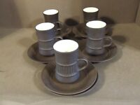 Set Of 5 Dansk Flamestone demitasse Coffee Cups Saucers extra saucer (G )