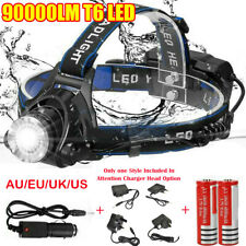 90000LM T6 LED Head Torch Headlamp Flashlight Waterproof Rechargeable 18650 Set