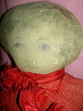 "Sweet antique, Art Fabric Mills (labeled: pat.Feb 1900) primitive cloth 17"" doll"