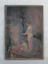 HUILE SUR TOILE SCENE D'INTERIEUR ENFANTS 1930 G. GUILLOT DE RAFFAILLAC (D235)