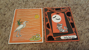2 Handmade Stampin Up Cards Sparkly Lily Pad Lake Heron and Halloween Cat