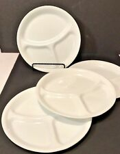 "4 Corelle Winter White Frost Corning Ware 3 Part Divided 10 1/4"" Dinner Plates"