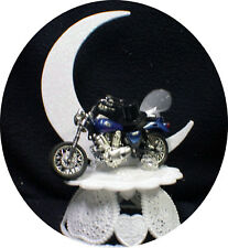 Sexy Blue Bike Motorcycle wedding Cake topper Crouch Rocket Bike Groom top Funny