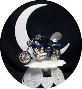 BLUE Bike Motorcycle wedding Cake topper Crouch Rocket Bike Groom top Off road