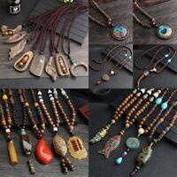 Nepal Buddhist Mala Bead Pendant Necklace Horn Fish Handmade Sweater Chain Women