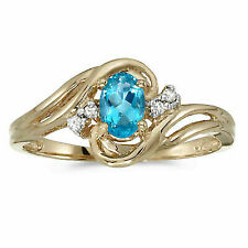 10k Yellow Gold Oval Blue Topaz and Diamond Ring Size 10