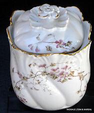 Limoges France A. Lanternier Mark #4 1891-1914 ~ Lidded Cracker Jar Hand Painted