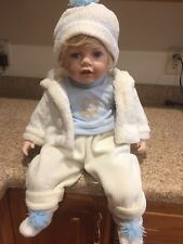 "Porcelain Doll From Cathay Collection ,Blonde Hair Blue Eyes 20"" Tall"