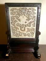 TABLE SCREEN IN CARVED JADE. CHINESE IMPERIAL. XIX-XX CENTURY.