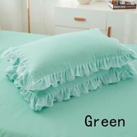 2X Pillowcase Lace Ruffle Pillow Covers Home Room Bed Decor Bedding 48X74cm Gift