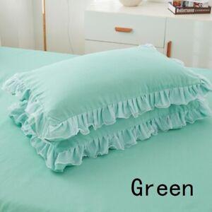 2X Kissenbezug Spitze Rüschen Kissenbezüge Heim Zimmer Bett Dekor 48X74cm Gift