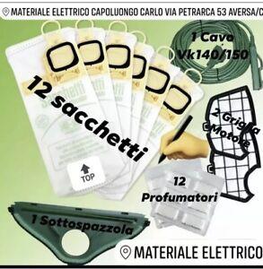 SACCHETTI FOLLETTO VK 140 150 12PZ+12 PROFUMI+2 FILTRI + SPAZZOLA + CAVO VORWERK