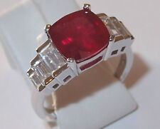 Striking African Ruby and Zircon ring in rhodium plated Sterling Silver, Size O.