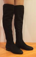 Aldo Chiaverini Over The Knee Boots Flat Nubuck Leather Black 37/ 6.5 $190
