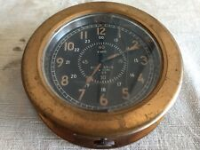 Vintage WW2 Roth Bros Clock Brass 1940s US Navy WWII USA Black Face