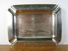 Antique Chromed, Metal Ashtray - Detroit Copper and Brass Rolling Mills