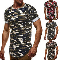 Fashion Men's Slim Short Sleeve O-Neck Camouflage Shirt Casual T-Shirts Tops