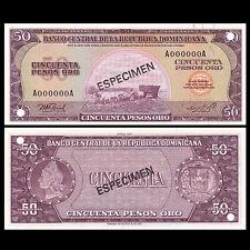 [SPECIMEN] Dominican 50 Pesos, 1975, P-112s, With hole, UNC