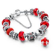 Vaentine Silver Plated Red Ladies Snake Chain Bracelet Murano Beads UK Seller