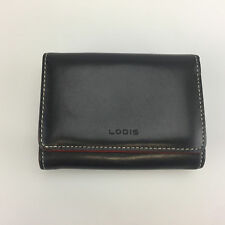 Lodis Los Angeles Trifold Wallet Black Leather Snap Close Small