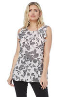 Roman Originals Women's Pink Floral Print Frill Sleeve Top Sizes 10-20