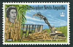 ST. CHRISTOPHER NEVIS ANGUILLA 1963-9 1c SG130 MH FG Loading Sugar Cane #A02