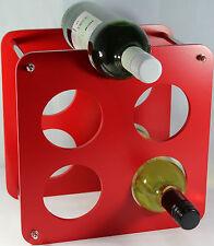 Wine Bottle Rack Free Standing - 5 Bottle Holder Red