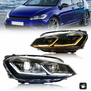 For 13-16 VW Golf7 MK 7 DRL Sequential Indicator Headlights MK-7.5 R Style