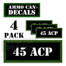 """45 ACP Ammo Can LABELS STICKERS DECALS for Ammunition Cases 3""""x1.15"""" 4pack"""