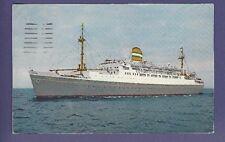1958 SS Maasdam @ Sea  - Vintage Color Postcard - Holland America Line