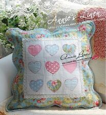 65%OFF Blue Stitched Heart Quilted Cushion Cover Cath kidston Fab A15