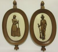 Syroco Inc Mid Century USA Wall Decor Pilgrim Musket Woman Amish Butter Churn