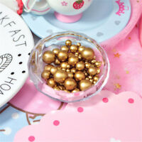 Pack of Gold Tone Faux Pearls Round Beads Without Holes Jewellery Crafts Decor